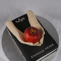 Twilight Book Cake Made this for my best friend's sister. Hands were gumpaste. Apple is real.