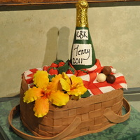 Basket Cake   Fondant basket weave, gumpaste tablecloth, hibicus, strawberries and champagne bottle