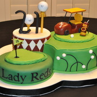 Graduation Golf Cake   Real golf balls...all other decor rkt and fondant