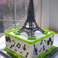 Paris Music   A cake for two people who share the same day...one loves Paris, the other loves music. Buttercream, RI tower and RI muisc accents