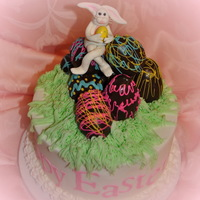 Easter Bunny   Buttercream with chocolate truffel eggs. Gumpaste bunny