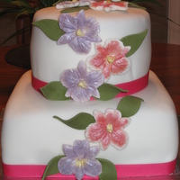 Orchid Bridal Shower Cake This is a cake with orchids for a bridal shower cake.