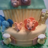 Noah's Ark   Two Tier cake covered in Fondant with Animals