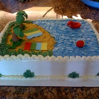 Beach Cake Beach Cake made with Butter cream and trees made with Fondant