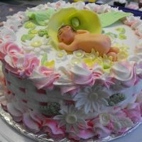 My First Baby Shower Cake fondant flowers and baby girl..
