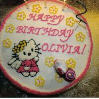 Hello Kitty Cake B/C icing, used a coloring book picture and did piping gel on wax paper to transfer outline to cake.