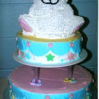 Baby Shower I did this one for my step sisters baby shower. 2 tier with the wilton 3D bear pan on top. Whipped Icing with fondant accents. I don't...