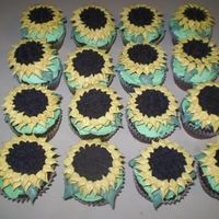 Sunflower Cupcakes Some sunflower cupcakes I tried. The centers are Oreos, and buttercream frosting