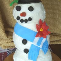 Snowman chocolate and white cakes covered in buttercream with gumpaste buttons,etc.