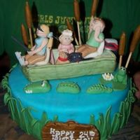 Fishin' With Family! 10in Chocolate Turtle Cake with Fudge and Caramel Pecan fillings -Hand-Painted Boat is RKT - everything else is fondant/gumpaste - I wish...