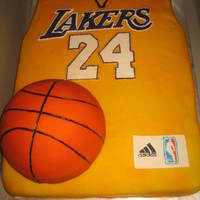 Lakers Jersey Cake cake for a lakers kobe bryant fan. red velvet.