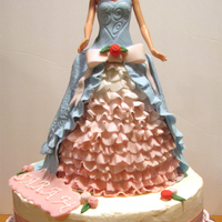 Barbie Cake This is my first fondant barbie cake for my friends daughters.