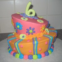 "Funky Splash Of Color   This is my first topsy turvy cake. I had a 6 year old who wanted a ""funky"" cake. Confetti cake with buttercrea icing"