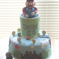 Daniel It was Mario for this birthday boy! The cake was vanilla filled with boston cream and covered in vanilla BC. All of the accents were done...
