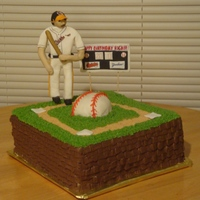 Rich For this baseball fan's 60th bday, it was vanilla cake with almond bc and a fondant figure and scorebaord. He gave me a heck of a time...