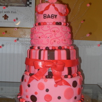 Pink And Brown Baby Shower Cake This was for a soon to be little girl on the way! the colors were pink and brown so i decided to do different shades of pink, thanks for...