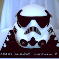 Storm Trooper From Star Wars a chocolate cake, carved and covered in fondant with fondant accents