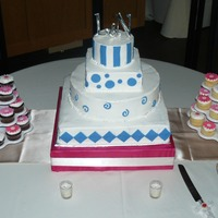 Blue & Pink Wedding Wedding Cake and Daisy Cupcakes