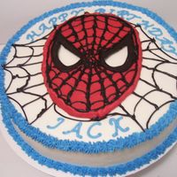 Spiderman Confetti cake, bc frosting, chocolate transfer Spiderman face