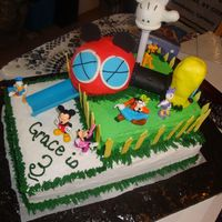 Mickey Mouse Club House Thank you to all the CC members for the inspiration for this cake. I ran out of time so was rushed! the whole thing is cake minus the hand...