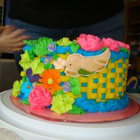 Basket Weave Wilton Course 2 Final This is my course 2 Wilton final cake. The flowers are royal, the basket weave is my own buttercream. The cake is red velvet with chocolate...