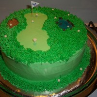 For My Father In Law....golf Theme   Chocolate Covered Banana Cake (awesome!!!) w/ BC