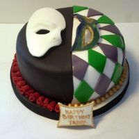 Phantom/mardi Gras Cake  My best friend has a love of The Phantom of the Opera and Mardi and I created a cake that showed both. Lemon cake with lemon curd filling...