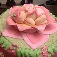 Close Up Of Fairy Baby Hi everyone!I decided to upload a closeup of the fondant/ gumpaste baby topper that I made for the Fairy Garden cake... The petals of the...