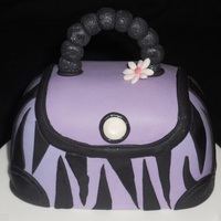 "Purple Zabra Print Purse! Carved from 4"" round, rich fruit cake, lots of fun to do! TFL!"