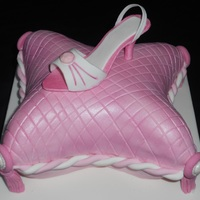 "Pink Pillow Show Cake! Carved from a 6"" square, fruit cake, all edible. TFL!"