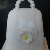 "Ivory Daisy Purse Cake! Carved from a 4"" square, rich fruit cake, TFL!!"