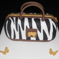 "Zebra Print Handbag Cake! Carved to approx. 6"" x 2.5"", all edible, TFL!"