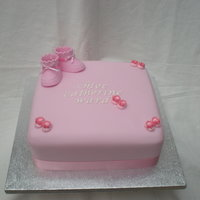 Pink Christening Cake Chocolate sponge with chocolate ganache, covered with pink regalice. I made this for my neices christening, kept it very simple with...