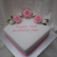 18Th Birthday Cake Chocolate sponge, filled with Chocolate Ganash . Iced in White regalice, Hot pink satin ribbon and hand made sugar roses.