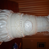 Victorian Wedding Butter cream with fondant skirting. My bride found this cake off the Cake Boss page.