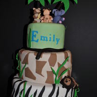 Animal Print Going to the zoo! Butter cream with handmade fondant animals and prints