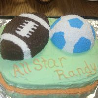 Sports Birthday Cake  This cake was for my sons sports theme birthday party. this was a single layer 1/2 yellow, 1/2 marble. Football was freehand cut from...
