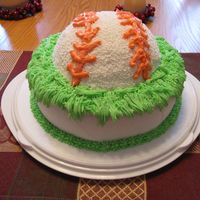 Baseball Cake This was a double layer devils food with a caramel cream filling. Baseball on top was strawberry. All had Butter cream icing. My son wanted...