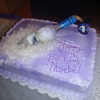 Bottle Cake This was made for a 40th Birthday party. The bottle and shot glass are real. Used buttercream icing and edible spray for color. Everyone...