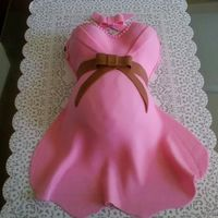 Belly Cake Belly was made w/ wilton sport ball mold and boobs w/ wonder molds, covered w/ bc and pink and brown fondant. Got many ideas from this...
