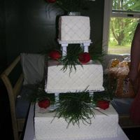 Summer Wedding Cake This was my first wedding cake ever. It took a lot of work. It was an outside wedding, and I was afraid it was going to melt. I made the...