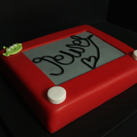 Toy Story Etch A Sketch I made this for my niece last July. Covered in fondant and made it look like an etch a sketch. She loves the little green aliens, so I made...