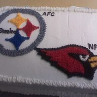 Superbowl pittsburg, cardinals, superbowl cake made for party at work