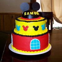 Mickey Mouse Clubhouse Cake   All buttercream except for the lettering. TFL.