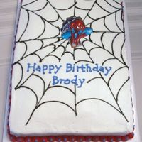 Spiderman Cake Chocolate cake with Indydebi's buttercream...ummm good! Buttercream decorations with Spiderman candle. Thanks to DeniseRoy for the...