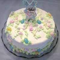 Easter And 1St Birthday Cake Buttercream icing and decorations, chocolate transfer bunny, and jellybeans. TFL!