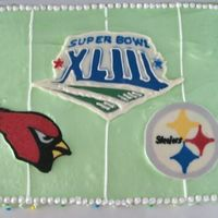Superbowl Cake Yay Steelers! Chocolate cake with 7 minute frosting, chocolate transfers. TFL
