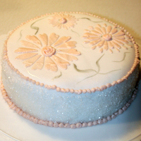 Pinksugar   Practice cake, using stencil and buttercream for flowers