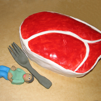 T-Bone Steak T-Bone Steak fondant covered cake, I made for a BBQ.