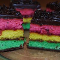 Tri Color Cookies (Rainbow Cakes) A NYC favorite... finally attempted in my home, what a success! I used raspberry jam on both layers instead of apricot. You might know them...